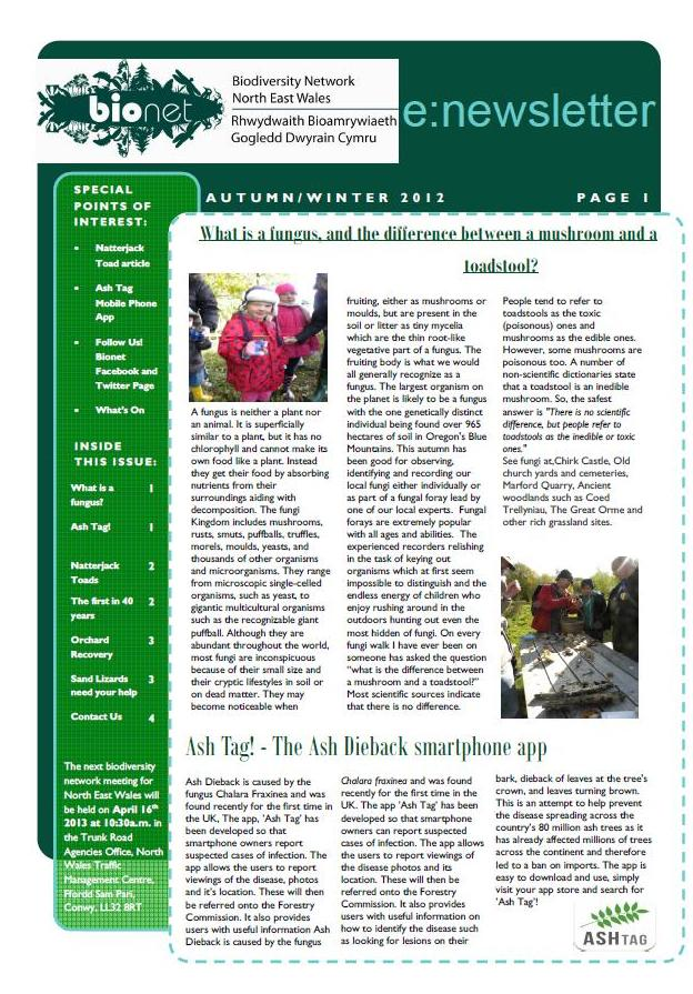 North East Wales Biodiversity Network Newsletter